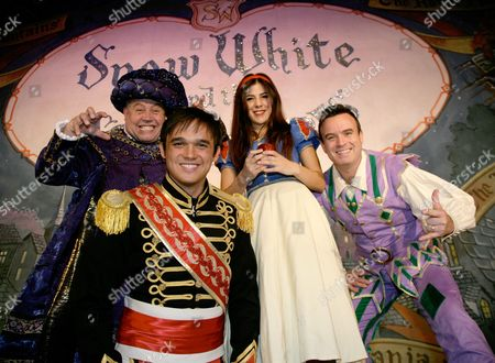 Stock Image of Cliff Parisi as the Henchman, Gareth Gates as the Prince, Aimie Atkinson as Snow White and Neil Brodie as Simples
