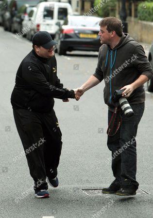 James Corden and photographer Carl Sims