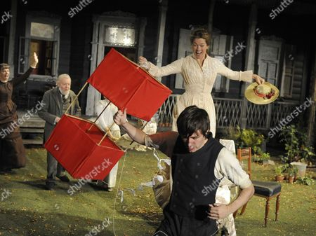 Stock Photo of 'A Month in the Country' - Tony Haygarth (Afanasy), Janie Dee (Natalya) and James McArdle (Aleksey)