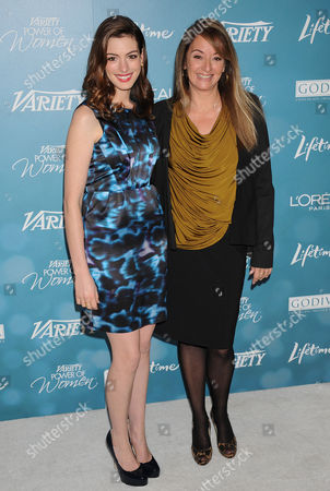 Stock Photo of Anne Hathaway (L) and Producer Suzan Bymel