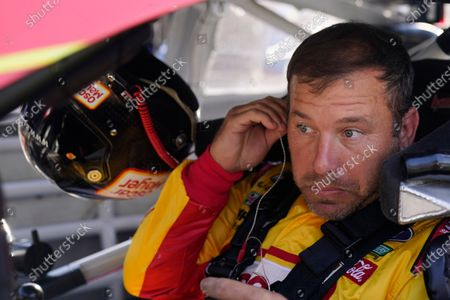 Ryan Newman sits in his car before qualifications for the NASCAR Series auto race at Indianapolis Motor Speedway, in Indianapolis