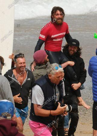 Stock Image of Ben Skinner wins the Boardmasters Men's Longboard. Held at Fistral Beach.