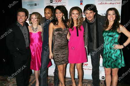 """The cast of """"All My Children"""" (L-R) Jacob Young, Brianne Moncrief, Cornelius Smith Jr., Denise Vasi, Chrishell Stause, Ricky Paull Goldin and Melissa Claire Egan arrive for the 5th Annual ABC and SOAPnet Salute to Broadway Cares/Equity Fights AIDS Benefit Post-Party at the Marriott Marquis Hotel in New York on March 9, 2009."""