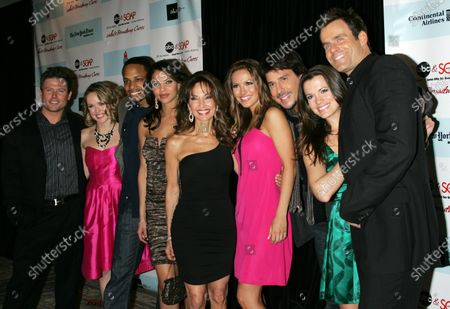 """The Cast of """"All My Children"""" (L-R) Jacob Young, Brianne Moncrief, Cornelius Smith Jr., Denise Vasi, Susan Lucci, Chrishell Stause, Ricky Paull Goldin, Melissa Claire Egan and Cameron Mathison arrive for the 5th Annual ABC and SOAPnet Salute to Broadway Cares/Equity Fights AIDS Benefit Post-Party at the Marriott Marquis Hotel in New York on March 9, 2009."""