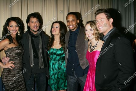 """The cast of """"All My Children"""" (L-R) Denise Vasi, Ricky Paull Goldin, Melissa Claire Egan, Cornelius Smith Jr., Brianne Moncrief and Jacob Young arrive for the 5th Annual ABC and SOAPnet Salute to Broadway Cares/Equity Fights AIDS Benefit Post-Party at the Marriott Marquis Hotel in New York on March 9, 2009."""