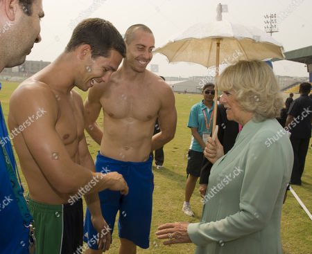 Camilla Duchess of Cornwall Meets Decathletes Tom Reynolds 25 From Bangor Northern Ireland and Roger Skedd 28 From Scotland