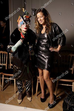 Anna Piaggi and Jade Jagger