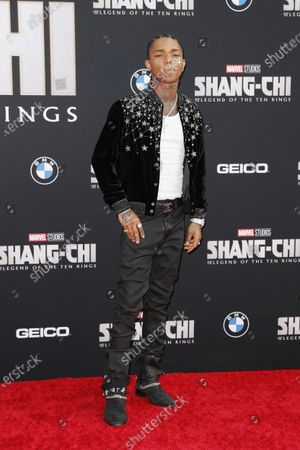Swae Lee poses on the red carpet prior to the premiere of Marvel's 'Shang-Chi and the Legend of the Ten Rings' at El Capitan Theatre in Hollywood, California, USA, 16 August 2021. The movie is set to be released on 03 September 2021.