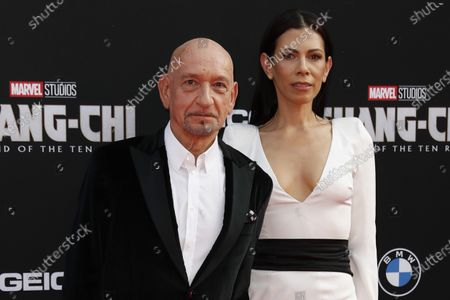 Ben Kingsley (L) and his wife Daniela Lavender (R) pose on the red carpet prior to the premiere of Marvel's 'Shang-Chi and the Legend of the Ten Rings' at El Capitan Theatre in Hollywood, California, USA, 16 August 2021. The movie is set to be released on 03 September 2021.