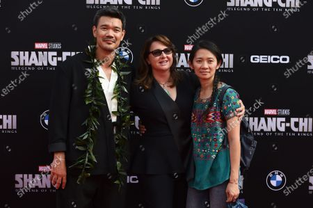 """From left, director Destin Daniel Cretton, Victoria Alonso and Chloe Zhao arrive at the premiere of """"Shang-Chi and the Legend of the Ten Rings"""", at the El Capitan Theatre in Los Angeles"""
