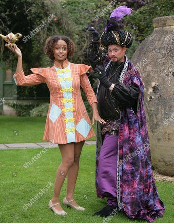 Gemma Hunt as Aladdin and Ricky Groves as Abanazar