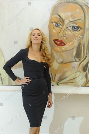 Jerry Hall with 'Jerry Hall' by Francesco Clemente estimated sale value GBP 1000,000-150,000