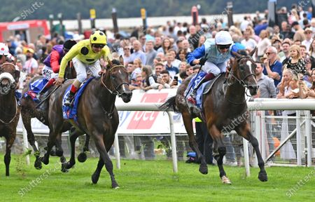 (R) Sam Cooke (Rob Hornby) wins The Sky Bet Stakes from (L) Throne Hall (Andrea Atzeni)..