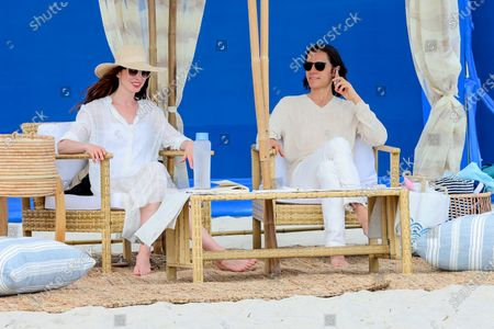 Anne Hathaway and Jared Leto are seen at the film set of the 'WeCrashed' TV Series at The Shores Atlantic Beach in New York City.