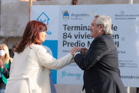 President of Argentina Alberto Fernandez (R), and the Vice President of Argentina Cristina Fernandez (L), participate in an act in Buenos Aires, Argentina, 17 August 2021. Cristina Fernandez, came out to support President Alberto Fernandez after the scandal unleashed by photos of the first lady's birthday party in the midst of the pandemic and lockdown, for which the opposition is promoting a political trial in the middle of the electoral campaign.
