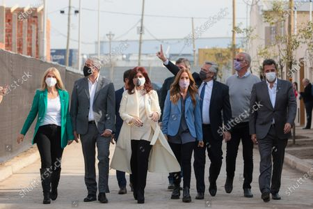 The President of Argentina Alberto Fernandez (3R), and the vice President of Argentina Cristina Fernandez (C), participate in an act with other party colleagues, in Buenos Aires, Argentina, 17 August 2021. Cristina Fernandez, came out to support President Alberto Fernandez after the scandal unleashed by photos of the first lady's birthday party in the midst of the pandemic and lockdown, for which the opposition is promoting a political trial in the middle of the electoral campaign.