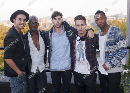 Stock Image of X Factor Evictees. F.Y.D - Kalvin LaMey, Ryan-Lee Seager, Alex Murdoch, Matt Newton and Jordan Gabriel
