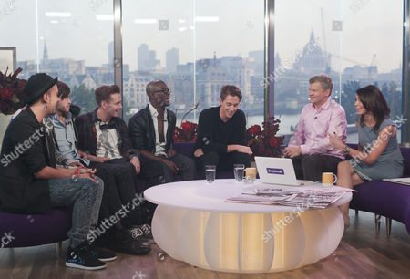 X Factor Evictees. F.Y.D and Nicolo Festa with Adrian Chiles and Christine Bleakley