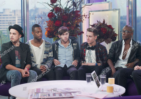 Stock Photo of X Factor Evictees, F.Y.D - Kalvin LaMey, Ryan-Lee Seager, Alex Murdoch, Matt Newton and Jordan Gabriel