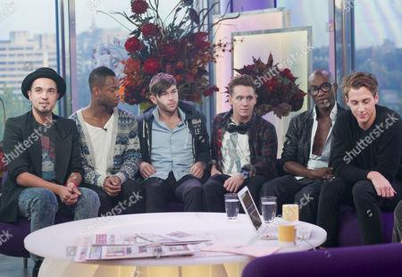 X Factor Evictees, F.Y.D - KKalvin LaMey, Ryan-Lee Seager, Alex Murdoch, Matt Newton and Jordan Gabriel with Nicolo Festa.