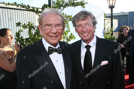 Stock Photo of Dr. Alfred E Mann and Nigel Lythgoe