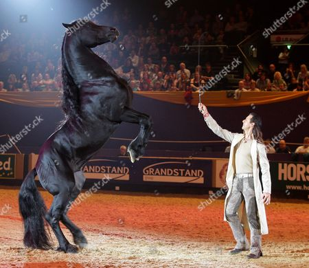 Stock Image of Frederic Pignon with a Lusitano horse