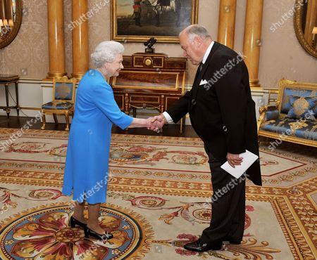 Editorial image of Queen Elizabeth II meeting the Ambassador of Finland Mr Pekka Huhtaniemi, Buckingham Palace, London, Britain - 12 Oct 2010
