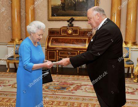 Editorial picture of Queen Elizabeth II meeting the Ambassador of Finland Mr Pekka Huhtaniemi, Buckingham Palace, London, Britain - 12 Oct 2010