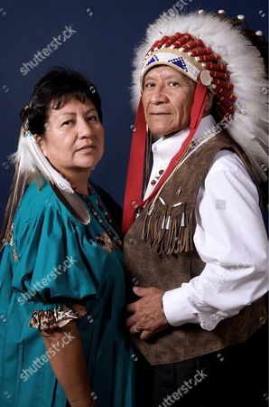 Stock Photo of Harlyn Geronimo, Apache medicine man and the great-grandson of the infamous Chiricahua Apache warrior Geronimo, and his wife Karen.