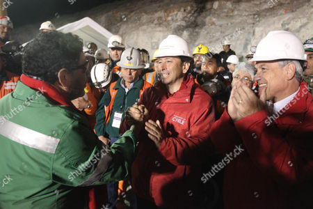 Luis Urzua, the last miner to be rescued, meets Minister of Mining Laurence Golborne and Chilean President Sebastian Pinera  at the San Jose mine