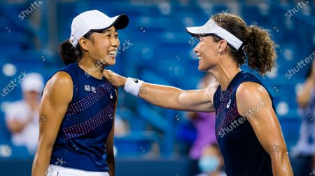 Sam Stosur of Australia & Shuai Zhang of China celebrate winning the doubles final at the 2021 Western & Southern Open WTA 1000 tennis tournament