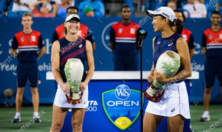 Stock Photo of Sam Stosur of Australia & Shuai Zhang of China after winning the doubles final at the 2021 Western & Southern Open WTA 1000 tennis tournament