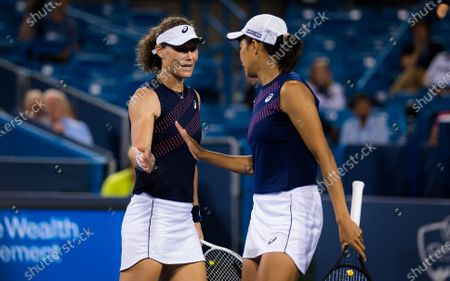 Sam Stosur of Australia & Shuai Zhang of China during the doubles final at the 2021 Western & Southern Open WTA 1000 tennis tournament