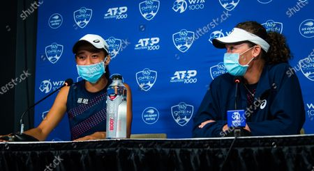 Stock Image of Sam Stosur of Australia & Shuai Zhang of China talk to the media after the doubles final at the 2021 Western & Southern Open WTA 1000 tennis tournament
