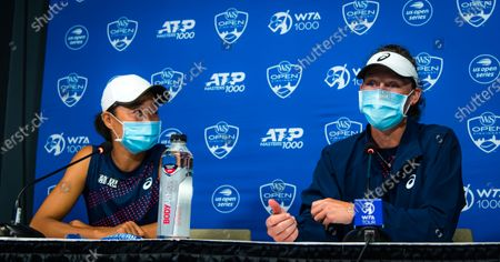 Sam Stosur of Australia & Shuai Zhang of China talk to the media after the doubles final at the 2021 Western & Southern Open WTA 1000 tennis tournament