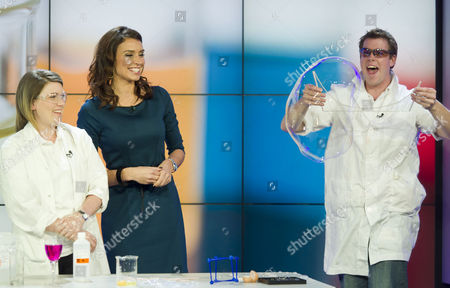 Scientists James Frecknall and Gemma Price assisted Christine Bleakley