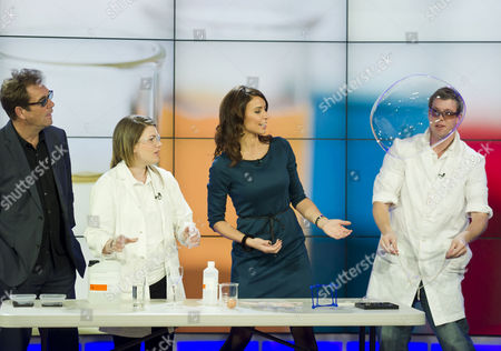 Scientists James Frecknall and Gemma Price assisted by Huey Lewis and Christine Bleakley