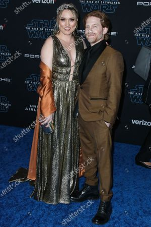 Clare Grant and Seth Green arrive at the World Premiere Of Disney's 'Star Wars: The Rise Of Skywalker' held at the El Capitan Theatre on December 16, 2019 in Hollywood, Los Angeles, California, United States.