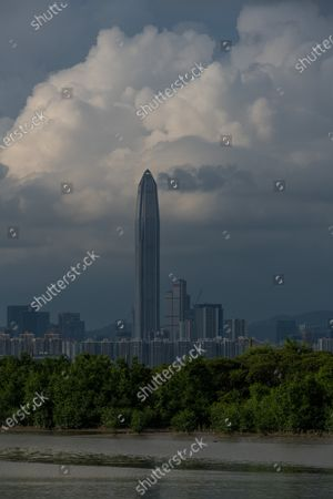 Stock Picture of The Ping An tower in Shenzhen can be seen from Nam Sang Wai, the wetlands of Hong Kong.  On 15 August 2021, in Hong Kong, China.