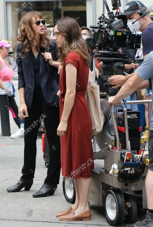 Carey Mulligan and Zoe Kazan on the set of She Said on August 17, 2021 in New York City.