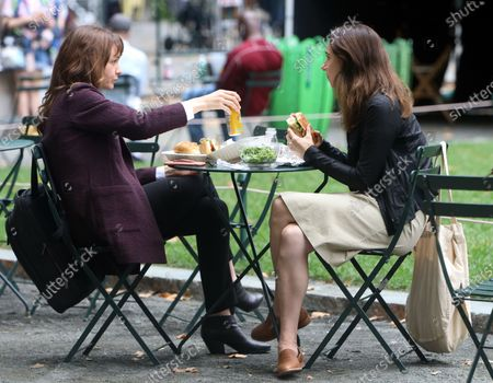 Stock Photo of Carey Mulligan and Zoe Kazan on the set of She Said on August 17, 2021 in New York City.