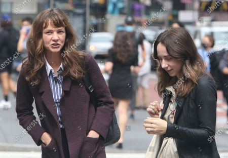Stock Picture of Carey Mulligan and Zoe Kazan on the set of She Said on August 17, 2021 in New York City.