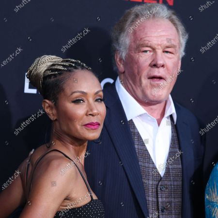 Actress Jada Pinkett Smith and actor Nick Nolte arrive at the Los Angeles Premiere Of Lionsgate's 'Angel Has Fallen' held at the Regency Village Theatre on August 20, 2019 in Westwood, Los Angeles, California, United States.