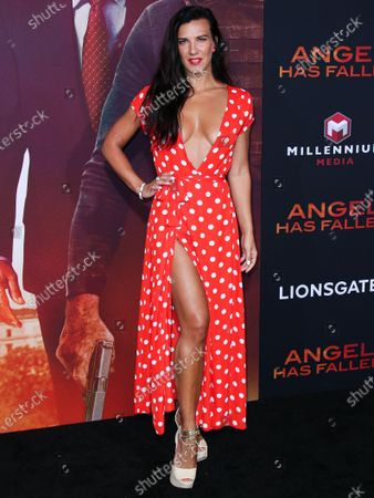 Actress Natalie Burn (Natalia Guslistaya) arrives at the Los Angeles Premiere Of Lionsgate's 'Angel Has Fallen' held at the Regency Village Theatre on August 20, 2019 in Westwood, Los Angeles, California, United States.