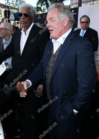 Actors Morgan Freeman and Nick Nolte arrive at the Los Angeles Premiere Of Lionsgate's 'Angel Has Fallen' held at the Regency Village Theatre on August 20, 2019 in Westwood, Los Angeles, California, United States.