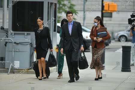 Stock Photo of Lawyers for R Kelly arrive at the trial of Robert Sylvester Kelly, accused of sex trafficking and racketeering, at Brooklyn's federal court in New York.