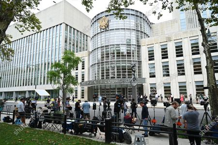 Media at the trial of Robert Sylvester Kelly, accused of sex trafficking and racketeering, at Brooklyn's federal court in New York.