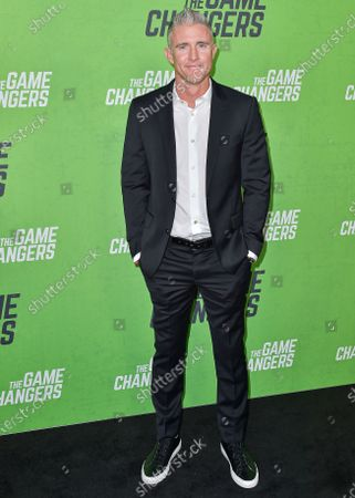 Stock Picture of Chase Utley arrives at the Los Angeles Premiere Of 'The Game Changers' held at ArcLight Cinemas Hollywood on September 5, 2019 in Hollywood, Los Angeles, California, United States.