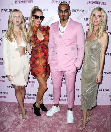 Tessie Hilton, Paris Hilton, Umar Kamani and Nicky Hilton Rothschild arrive at PrettyLittleThing x Saweetie during New York Fashion Week: The Shows held at The Plaza Hotel on September 8, 2019 in Manhattan, New York City, New York, United States.