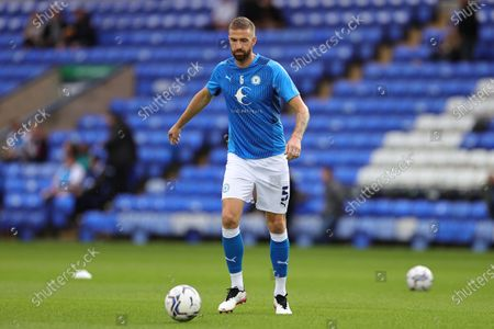 Stock Picture of Mark Beevers of Peterborough United warms up ahead of the Sky Bet Championship match between Peterborough United and Cardiff City at Weston Homes Stadium, Peterborough on Tuesday 17th August 2021.